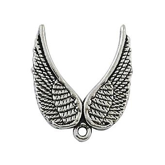 Packet 20 x Antique Silver Tibetan 20 x 23mm Angel Wings Charm/Pendant HA06450