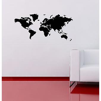 Etiqueta de la pared mapa de mundo