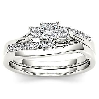 IGI Certified S925 Silver 0.50Ct TDW Princess Diamond Three Stone Bridal Set