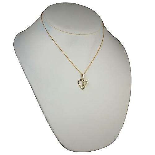 9ct Gold 18x18mm initial B in a heart Pendant with a cable Chain 18 inches