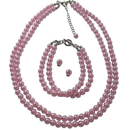 Two Stranded Pearl Bracelet Stud Earrings Jewelry In Pink Color