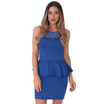 KRISP Lace Mesh Panel Bodycon Peplum Dress Pencil Wiggle Stretch Frill Mini Party