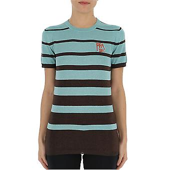 Prada Light Blue/brown Cotton T-shirt