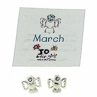 Jo For Girls Sterling Silver March Birthstone Angel Aqua Color Earrings