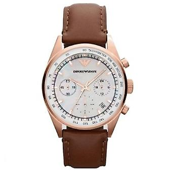 Emporio Armani Ar5996 Classic Brown Leather Ladies Chrono Watch