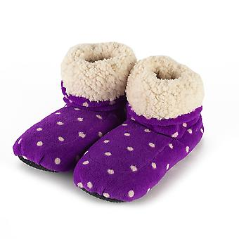 Warmies Sherpa Microwavable Slipper Boots: Purple Polka Dot
