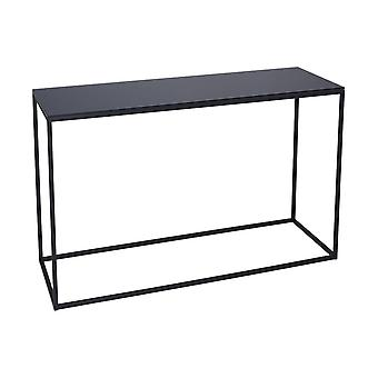 Gillmore Space Black Glass And Black Metal Contemporary Console Table