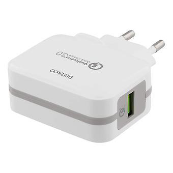 DELTACO vægoplader USB, Qualcomm Quick Charge 3,0, 19, 5W, hvid