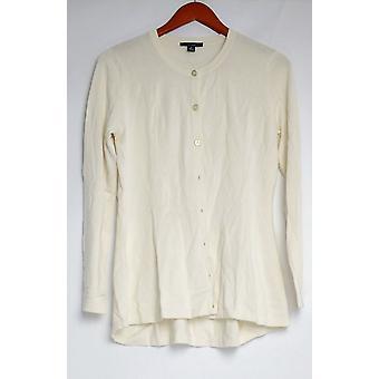 Isaac Mizrahi Live! Women's Sweater Long Sleeve Button Front Ivory A284339