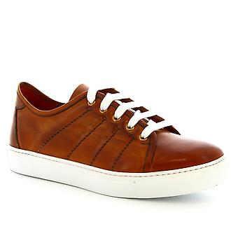 Leonardo Shoes Men's handmade round toe lace-up shoes in brandy calf leather