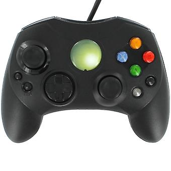 Compatible wired slim s-type gamepad controller for original microsoft xbox - black