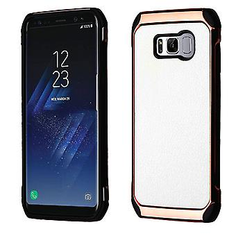 ASMYNA White Lychee Grain(Rose Gold Plating)/Black Astronoot Protector Cover for Galaxy S8 Plus