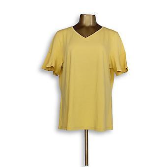 Denim & Co. Women's Top V-Neck W/ Short Flutter Sleeve Yellow A352981