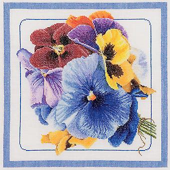 Pansies On Aida Counted Cross Stitch Kit 13 1 2