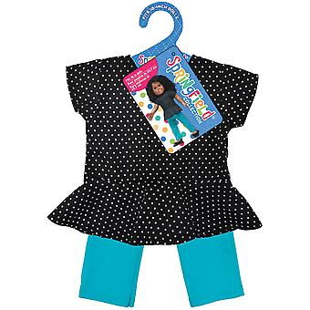 Springfield Collection Peplum Top & Pant-Black Polka Dot Top And Teal Pants 3186FS