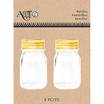 Art-C Mini Glass Bottles-Small Mason, 2/Pkg MINBOT-23685