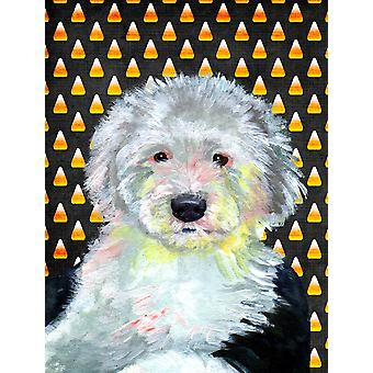 Old English Sheepdog Candy Corn Halloween Portrait Flagge Leinwandgröße Haus