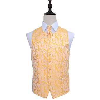 Gold Passion Floral Patterned Wedding Waistcoat & Cravat Set