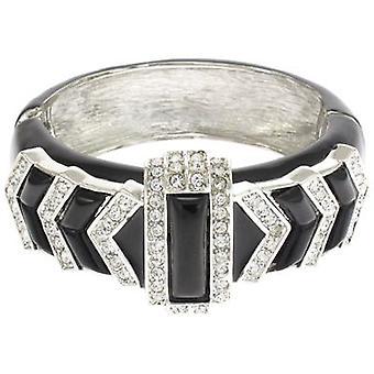Kenneth Jay Lane smalto nero Deco braccialetto