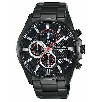 Pulsar Mens Chronograph svart stål armband Black Dial PM3065X1 Watch