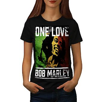 One Love Marley Pot Rasta Women Black T-shirt | Wellcoda