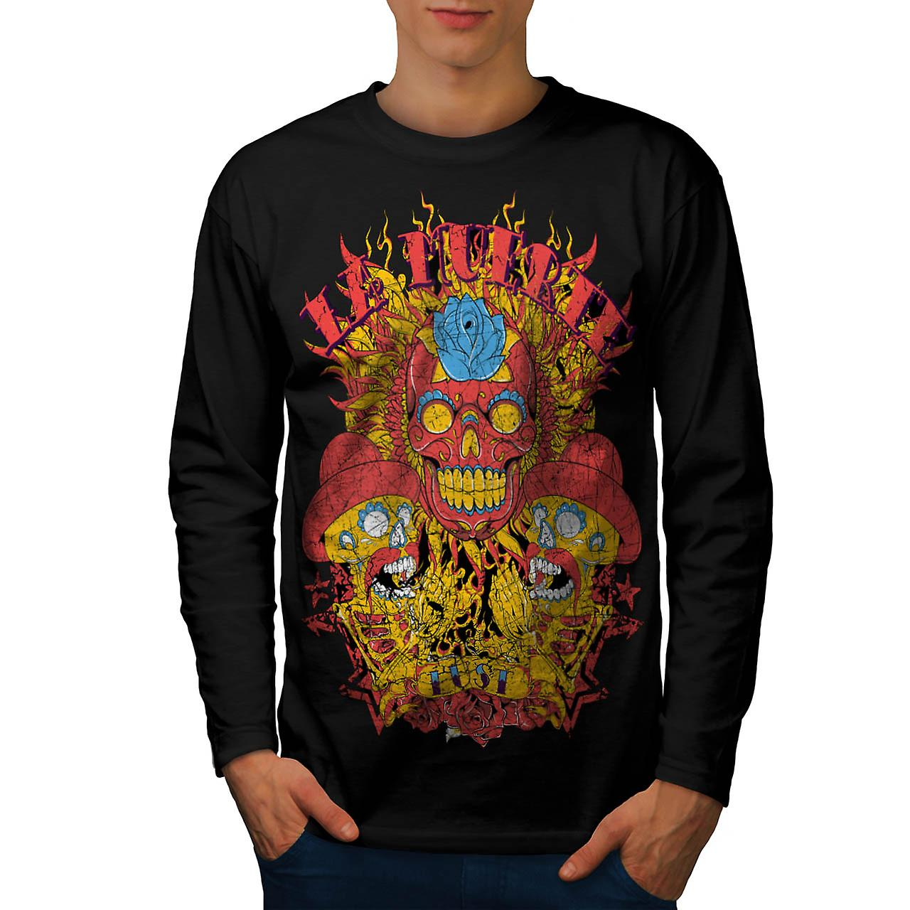 Muerte Lust Skull Hat Mexican Men Black Long Sleeve T-shirt | Wellcoda