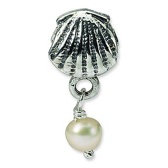 Sterling Silver Dangle Polished Antique finish Reflections Shell Freshwater Cultured Pearl Bead Charm