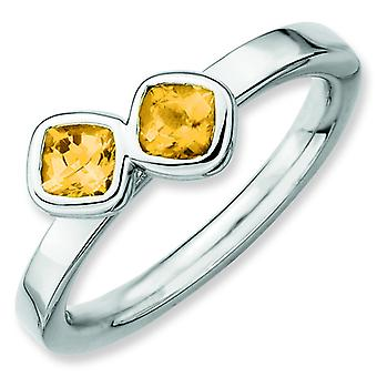Sterling Silver Stackable Expressions Db Cushion Cut Citrine Ring - Ring Size: 5 to 10