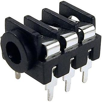 3.5 mm audio jack Socket, horizontal mount Number of pins: 3 Stereo Black Cliff FCR1295 1 pc(s)