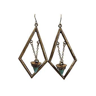 Diamond-shaped vintage bohemian statement earrings gold
