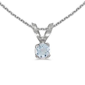 14k White Gold Round Aquamarine Pendant with 18