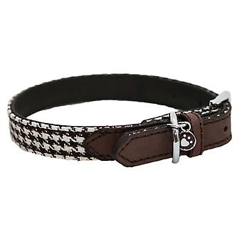 Wag N Walk Designer Collar Houndstooth Brown 12-16