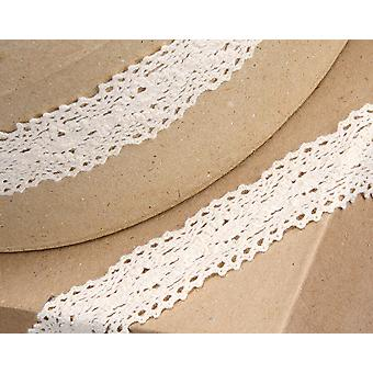 30mm Ivory Vintage Lace Border Ribbon for Craft - 5m   Ribbons & Bows for Crafts