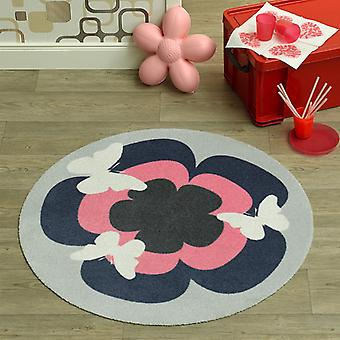 Velour kids carpet Butterfly pink grey round 100 cm | 102299