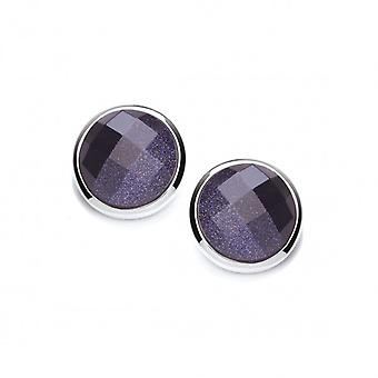 Cavendish French Silver Surround Round Blue Sandstone Earrings
