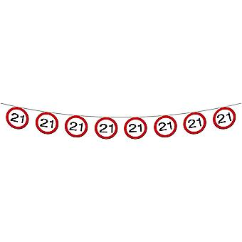 Pennant Garland traffic sign number 21 birthday decoration party