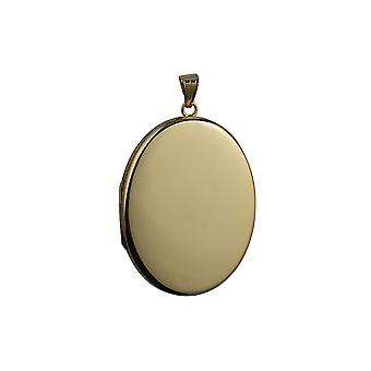 9ct oro Guardapelo oval plano llano 45x36mm