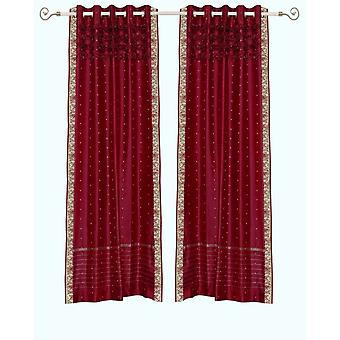 Maroon Hand Crafted Grommet Top Sheer Sari Curtain Panel -Piece