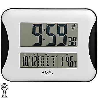 AMS 5894 wall clock radio digital display of time, date, day and temperature