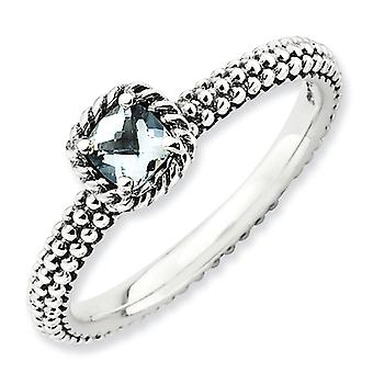 2.5mm Sterling Silver Stackable Expressions Checker-cut Aquamarine Antiqued Ring - Ring Size: 5 to 10