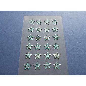 24 Turquoise Flower Shaped Self Adhesive Jewels