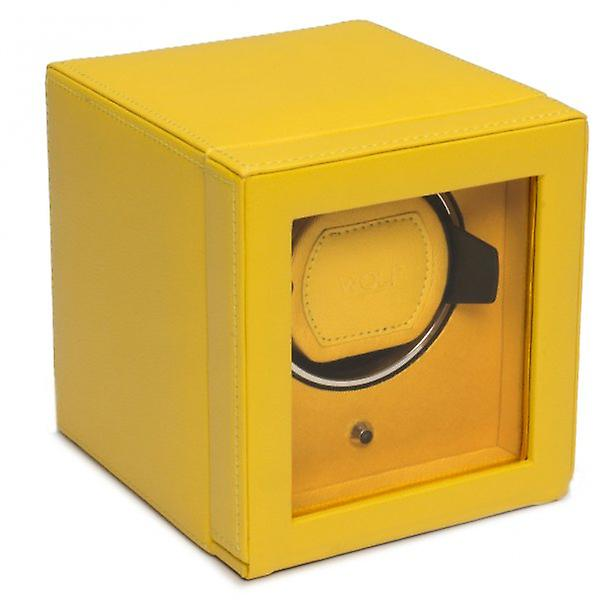Wolf Designs Cub Yellow Leather Single Watch Winder 1.8 With Cover
