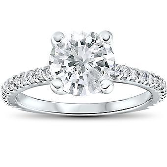 2 1/3 cttw Diamond Engagement Ring Solitaire Round Brilliant Cut 14k White Gold