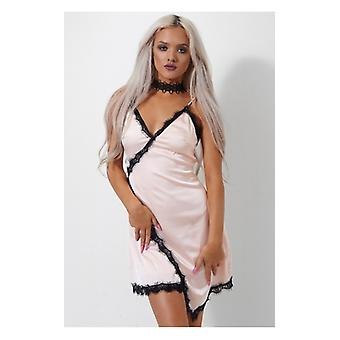 The Fashion Bible Siri Pink Lace Trim Camisole Dress