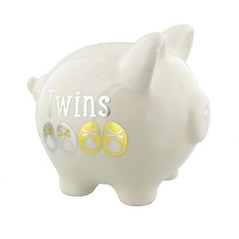 Twins White, Gold & Silver Piggy Bank
