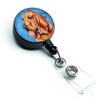 Carolines Treasures  LH9376BUBR Blue Bloodhound Retractable Badge Reel