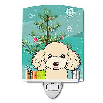 Christmas Tree and Buff Poodle Ceramic Night Light