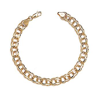 Floreo 10k Yellow Gold High Polished Solid Double Link Charm Bracelet  (0.3