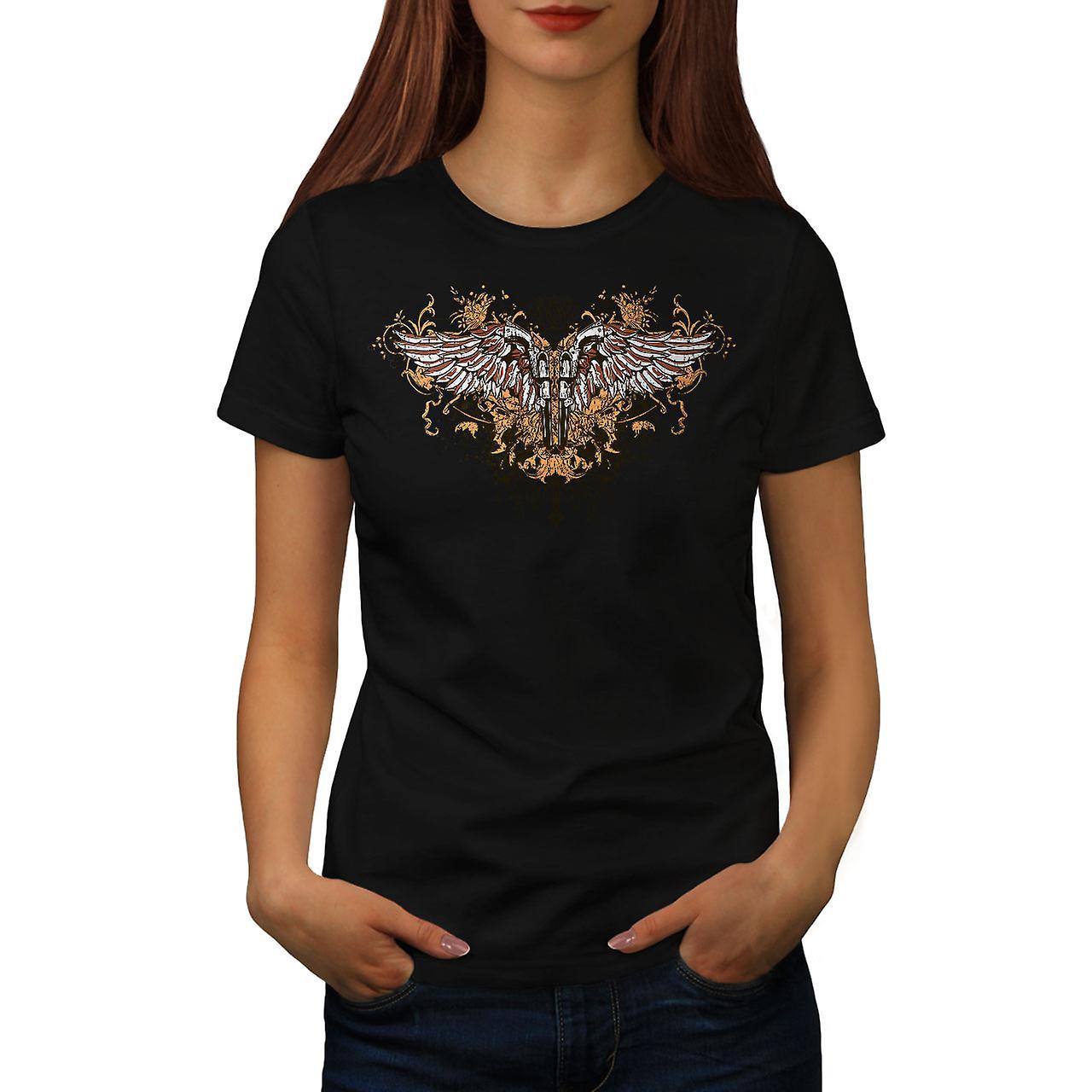 Pistol Gun Angel Wing Women Black T-shirt | Wellcoda