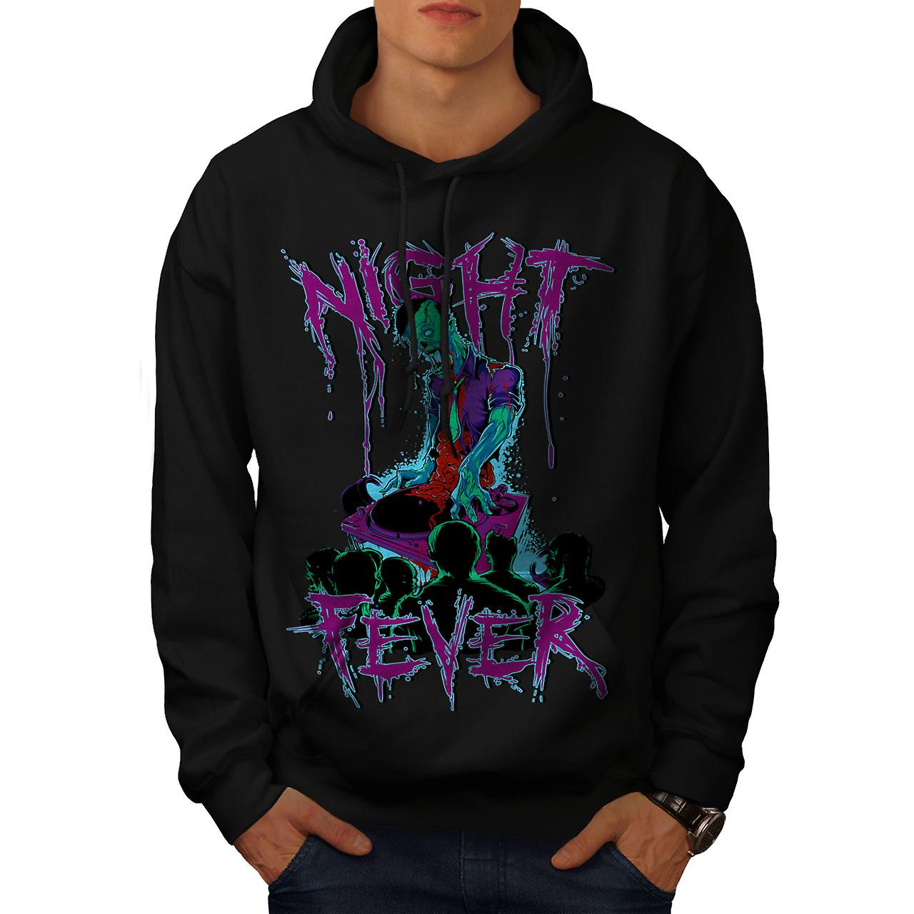 Night Fever Dead Zombie Men Black Hoodie | Wellcoda